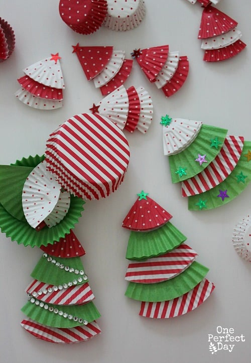 58. Learn How to Make Christmas Tree Ornaments Using Cupcake Liners