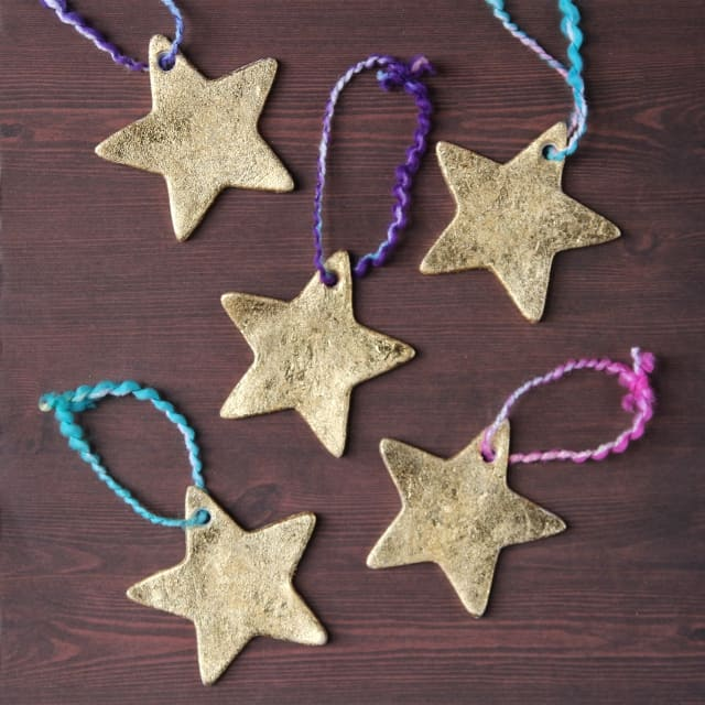 59. Decorate Your Christmas Tree with These Stunning Gold Clay Stars