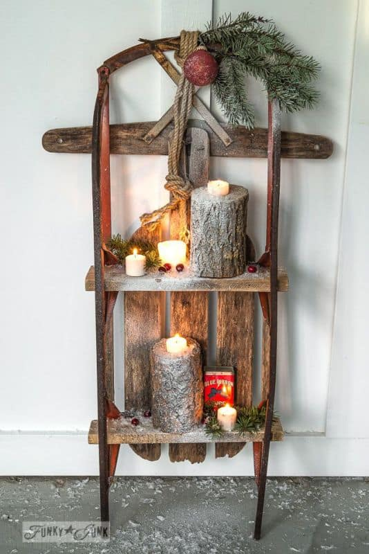 19 winter home decorations re purposing sleighs skis for Ski decorations for home