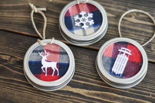 8. Decorate Your Christmas Tree with Mason Jar Lid Ornaments