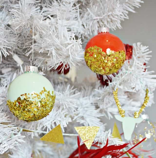 85. Decorate your Christmas tree with these incredibly cool Painted Glitter Ornaments