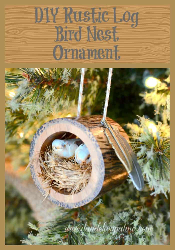 94. Learn how to make this incredibly cool rustic log bird nest ornament