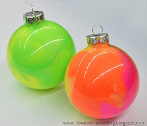 96. Learn How To Make These Incredibly Cool Neon Marble Paint Ornaments