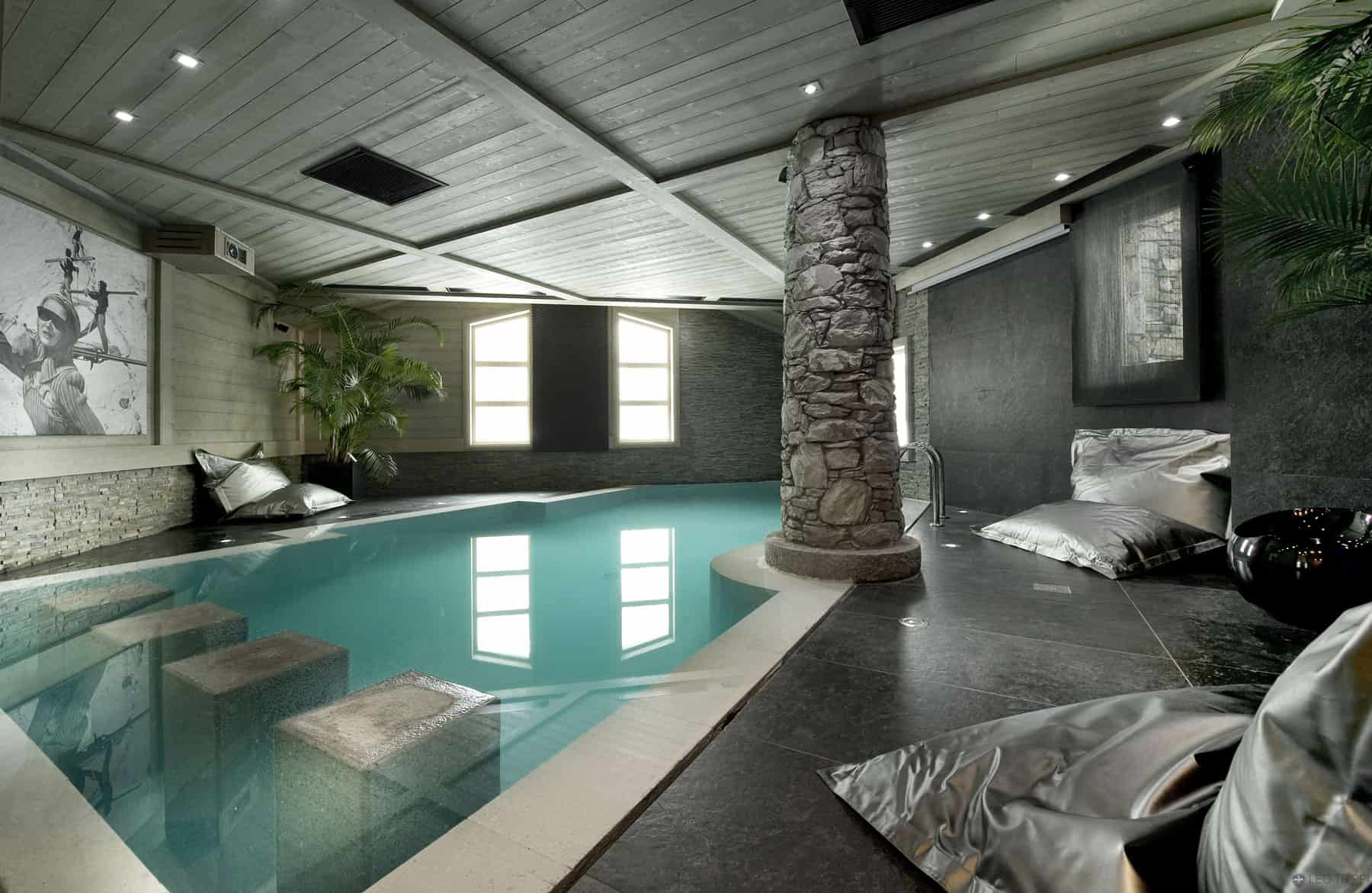Indoor Swimming Pool Design in Chalet White Pearl in French Alps