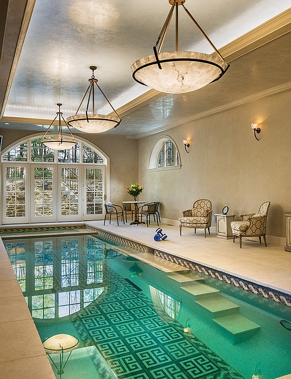 Lighting plays a key role in defining the theme of your indoor pool