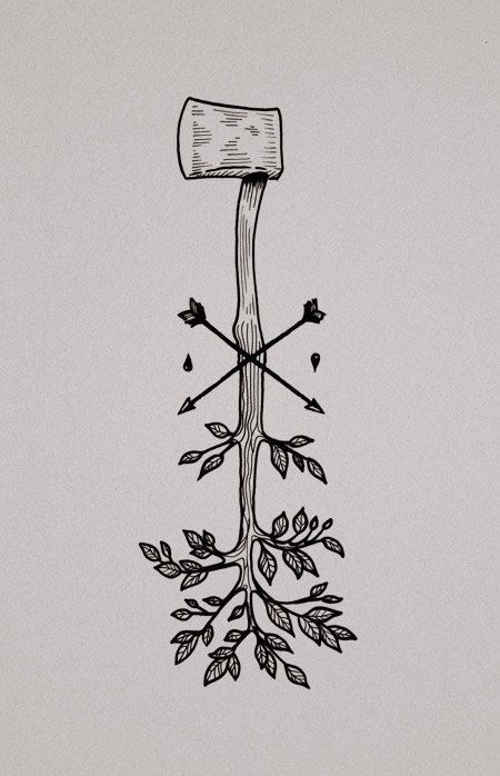 58. WOODEN ROOTS axe