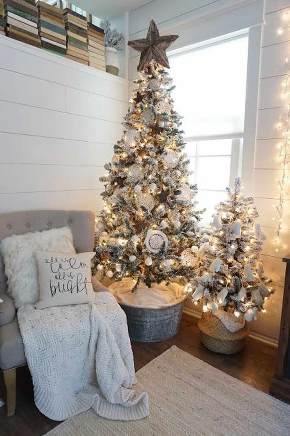 farmhouse Christmas tree filled with white decorations