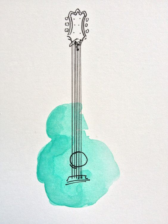 63. DRAW A GUITAR USING WATERCOLORS