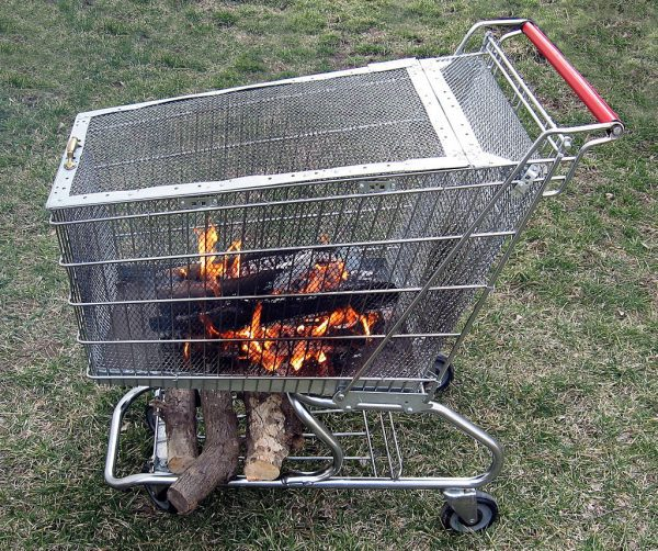 THE UPCYCLED MALL TROLLEY FIRE PIT