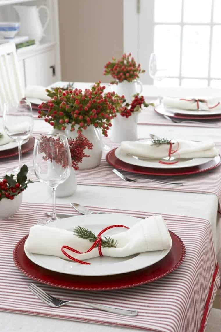 red white decorations christmas table vases white ideas