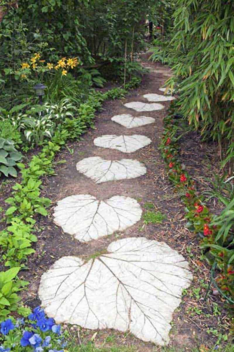If You Are Using Cement For Creating An Interesting Pathway We Suggest You  To Have Fun And Decorate It With A Big Leaf While The Cement Is Still Fresh  For A ...