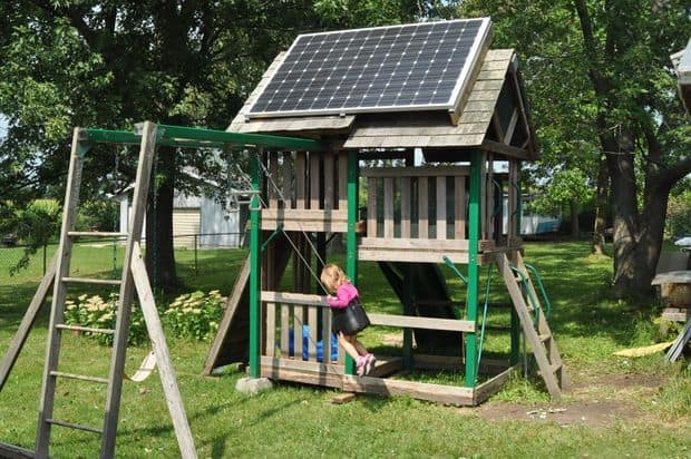 tHE SOLAR SWING SET and playhouse