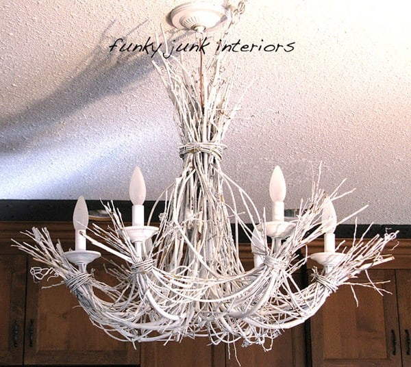 EMBELLISHING AN OLD CHANDELIER WITH TWIGS