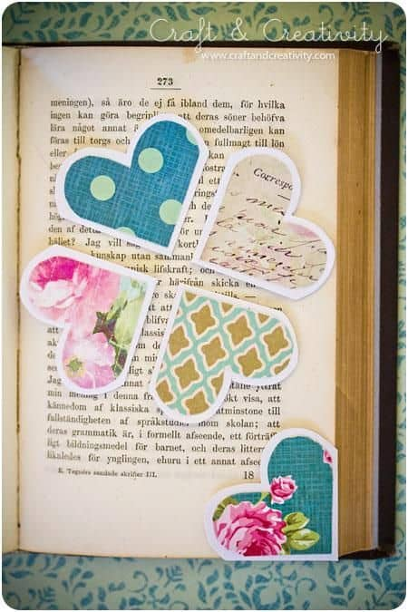 PAPER MADE HEART SHAPED BOOKMARK