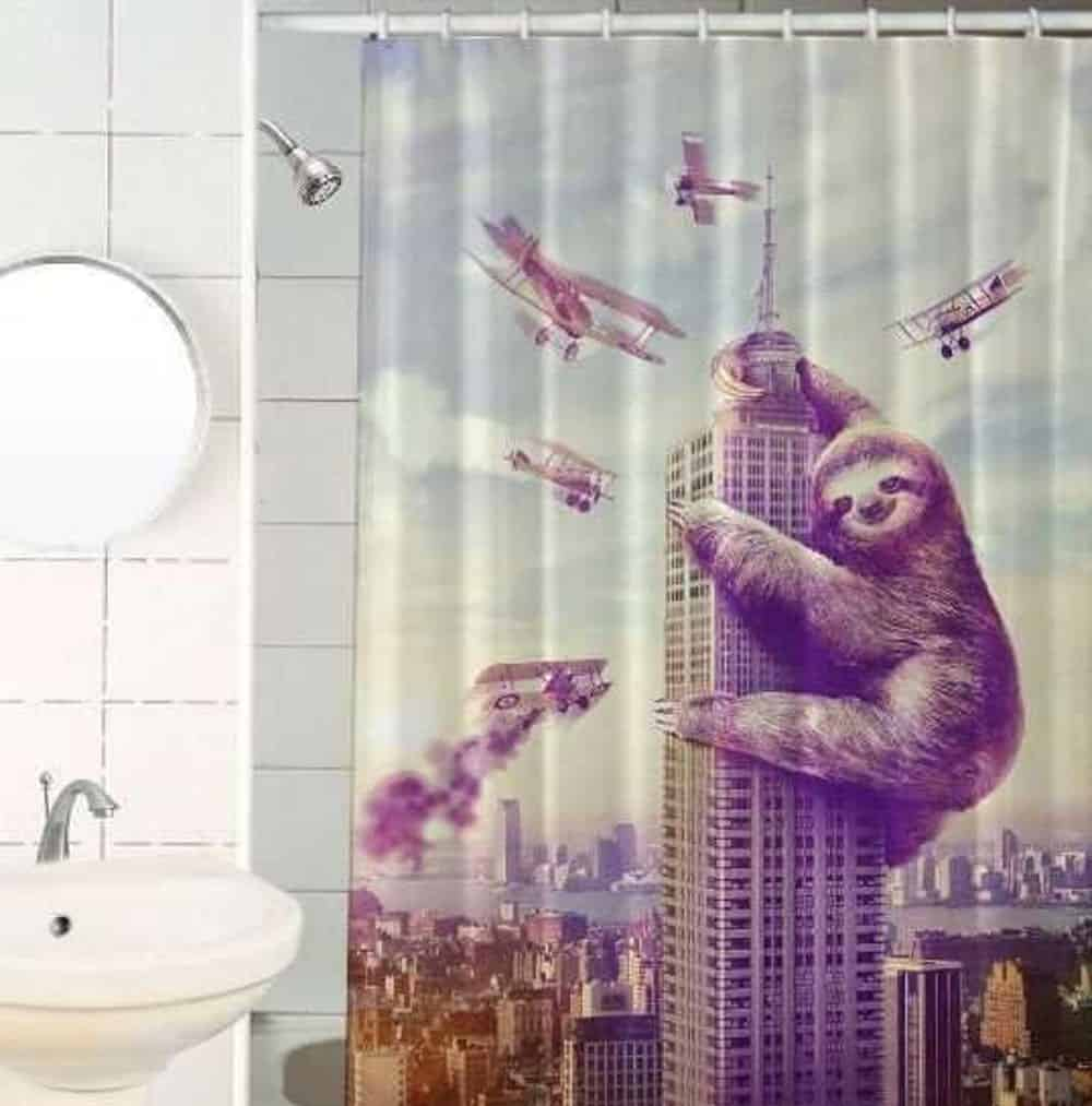 KING KONG THEMED SLOTH SHOWER CURTAIN