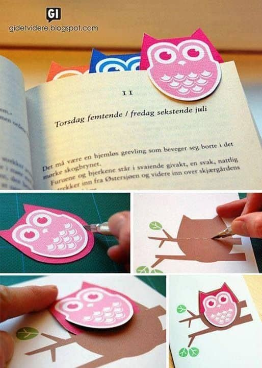 OWL BOOKMARKS MADE WITH CARDBOARD