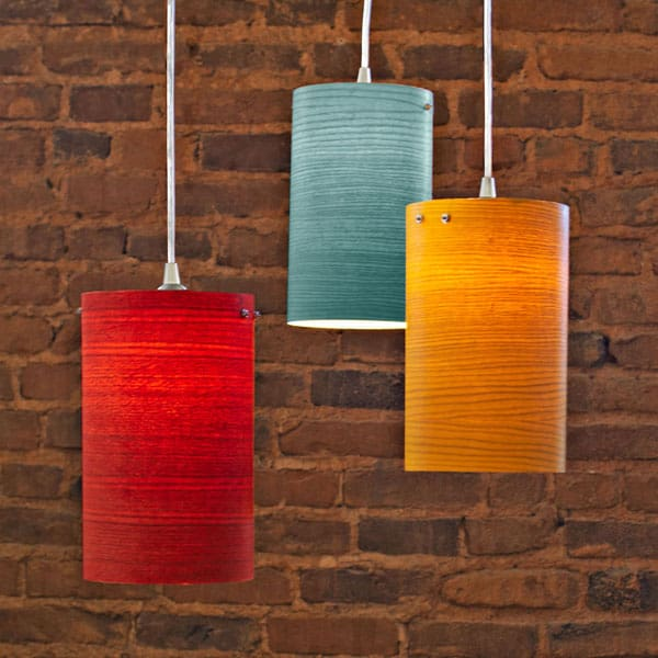 CYLINDRICAL WOOD VENEER PENDANT LIGHTS