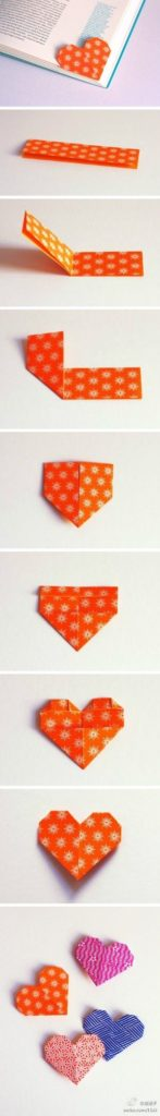 HEART-SHAPED BOOKMARK IN ORIGAMI FOLD