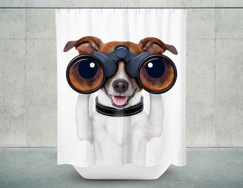 PEEK A BOO DOG SHOWER CURTAIN