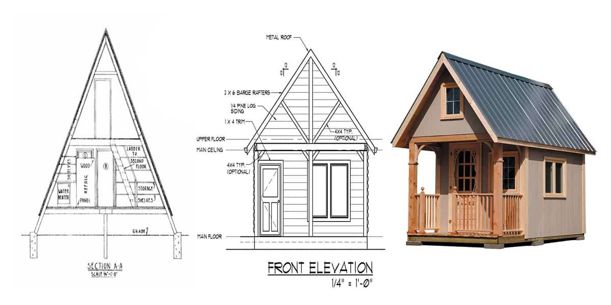 33 free or cheap small cabin plans to nestle in the woods for Cabin blueprints free