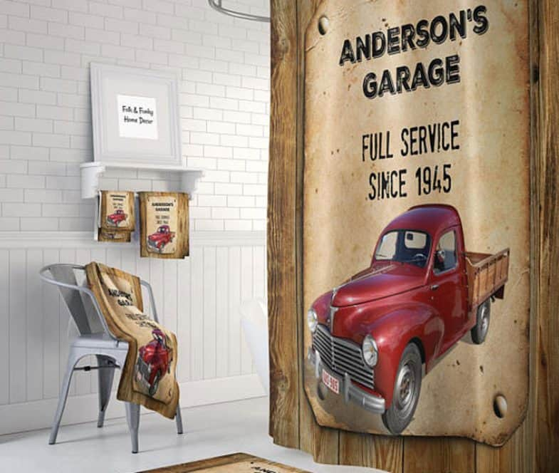 VINTAGE RED TRUCK SHOWER CURTAIN