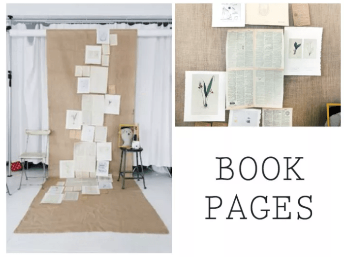 BOOK PAGES BACKDROP