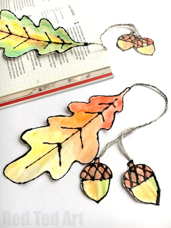 WATERCOLOR LEAF BOOKMARKS