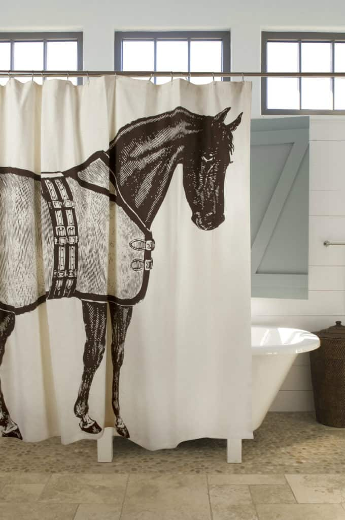 FABRIC BLACK AND WHITE SHOWER CURTAIN