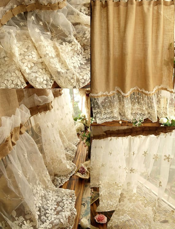 SHABBY RUSTIC CHIC BURLAP SHOWER CURTAIN