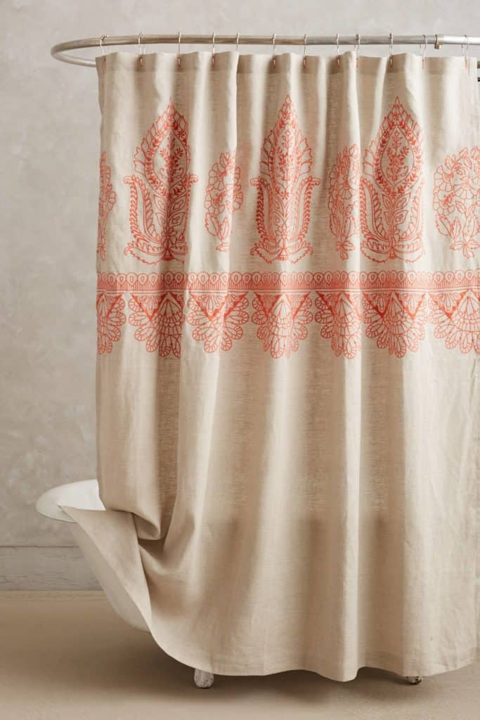 EMBROIDERED LINEN SHOWER CURTAIN