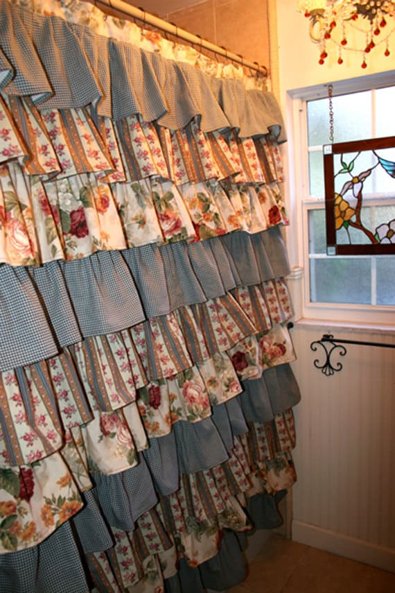VINTAGE GARDEN THEMED RUFFLED SHOWER CURTAIN