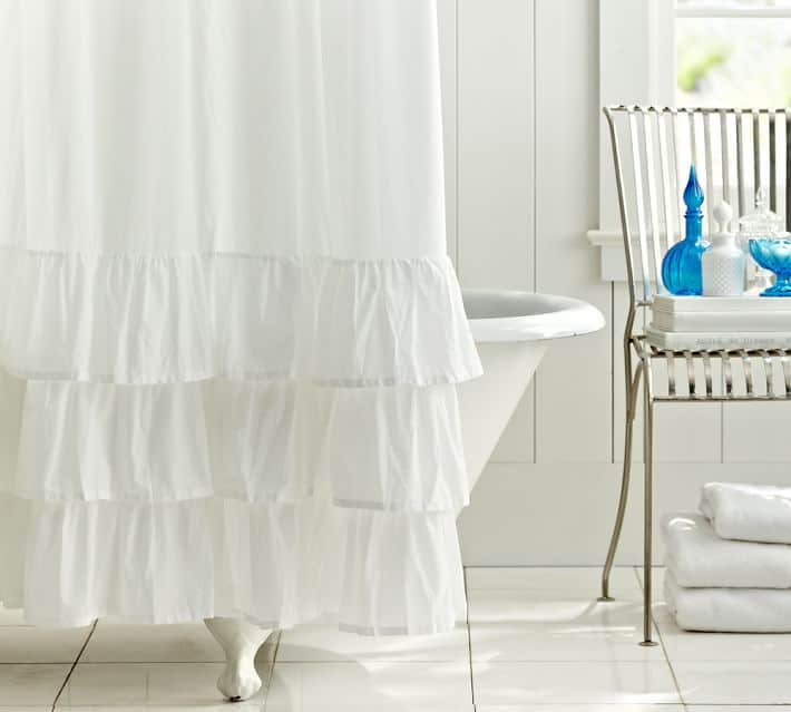 PLAIN WHITE RUFFLED SHOWER CURTAIN