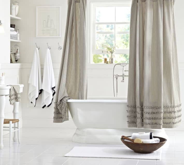 TICKING STRIPED RUFFLED SHOWER CURTAIN