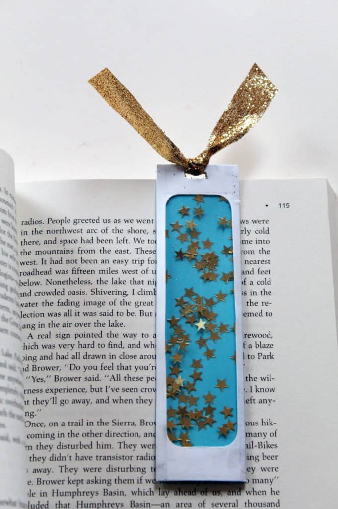 CONFETTI FILLED BOOKMARK