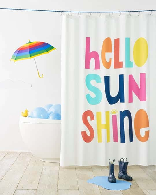 HELLO SUNSHINE SHOWER CURTAIN WHITE