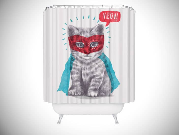 SUPERHERO CAT LOVER SHOWER CURTAIN