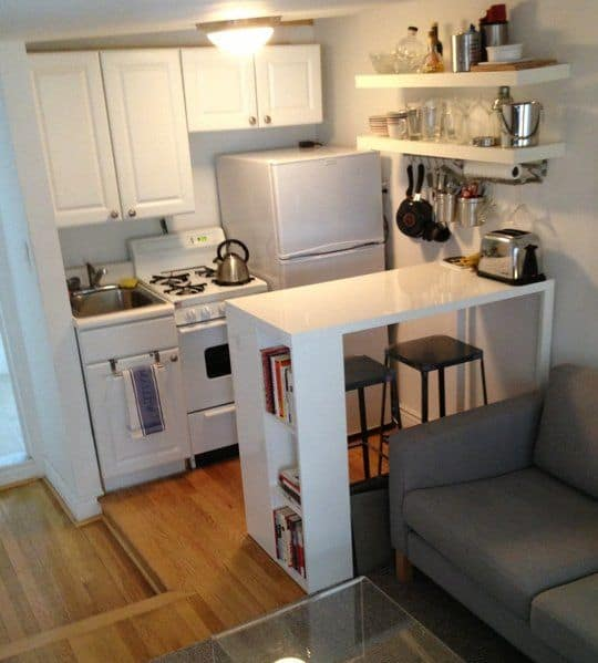 small kitchen open to the living room