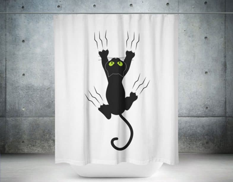 FUNNY CAT SCRATCH SHOWER CURTAIN