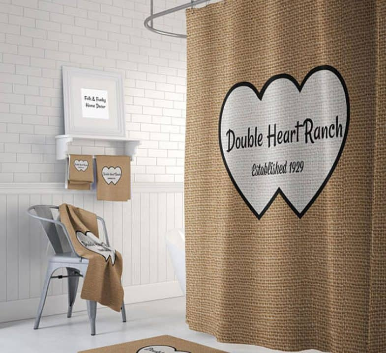 DOUBLE HEART SHOWER CURTAIN