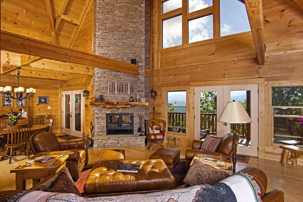 Great Room In a log home