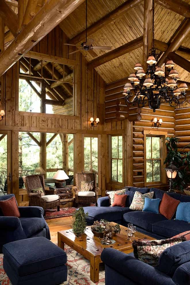 Log cabin decor living room rustic with sitting area wood paneling log cabin 6