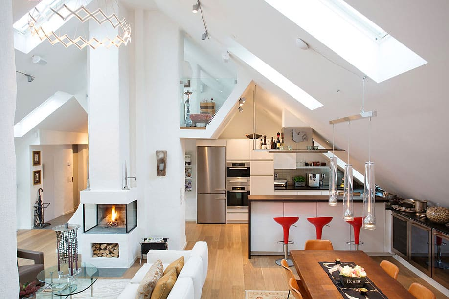 Open Floor Living Space in White Painted Wall at Scandinavian Loft furnishing decoration apartment set up decor Sloping Ceiling and Skylight Windows