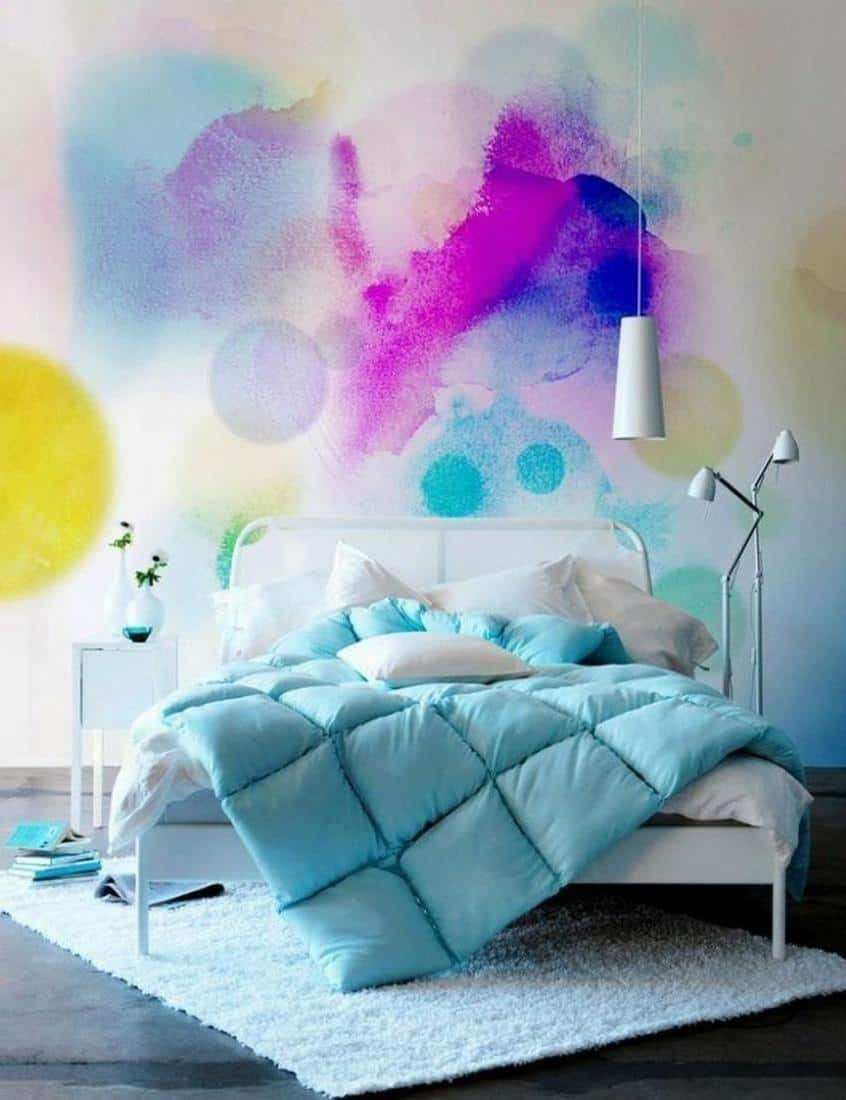 appealing splash colorful watercolor idea for breathtaking bedroom with white bed and cool blue bedding plus black flooring