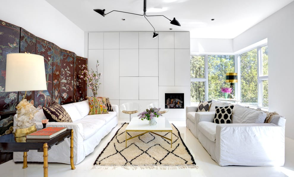 besta white with white ch andeliers living room contemporary and mixed patterns 4