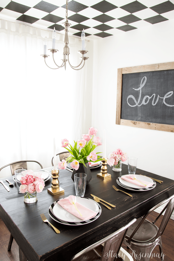 blac gold and blush valentines day table setting