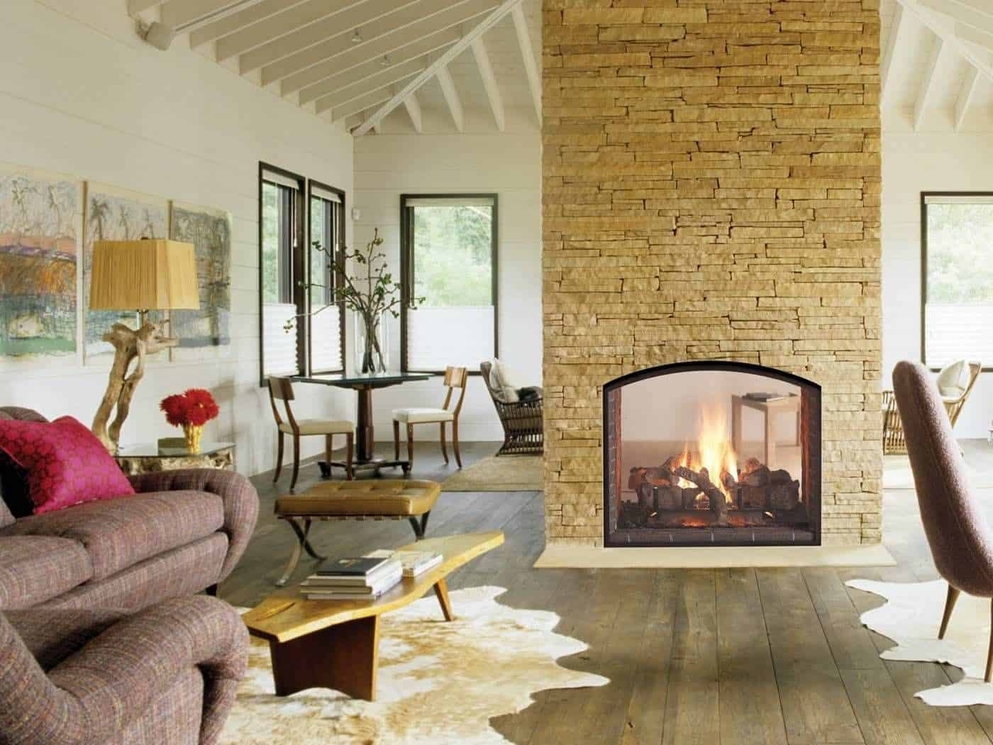 gas fireplaces double sided closed