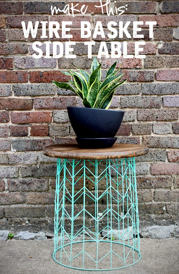 make this wire basket side table DIY