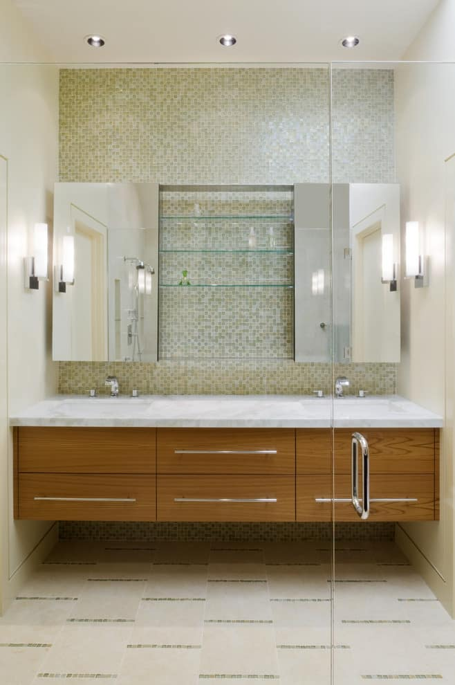 medicine cabinet mirror Bathroom Contemporary with ceiling lighting double sinks