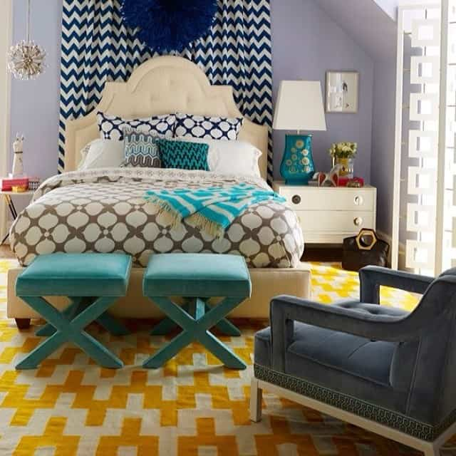 summer patterns bedroom trends blue beige yellow turquoise geometric details