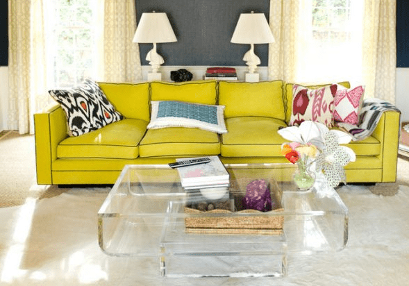 Acrylic Coffee Table in Living Room with Yellow Couch